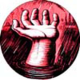 Eric Drooker - Drowning hand Button